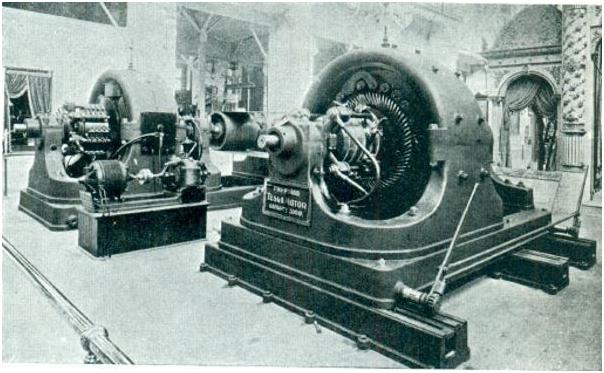 Генератор 2-фазного тока Николы Тесла мощностью 500 л.с. на Всемирной выставке в Чикаго, 1893 год