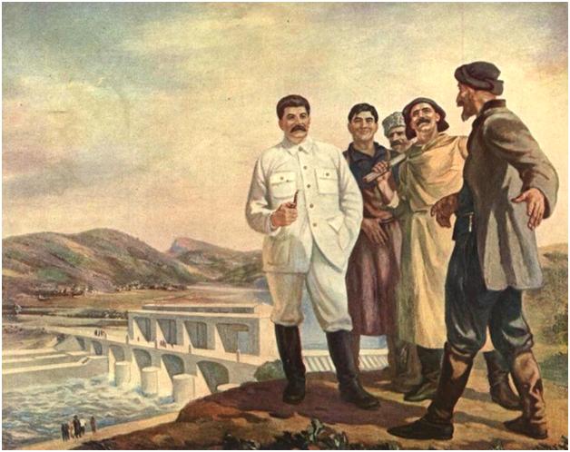 Художник Ираклий Тоидзе. Товарищ Сталин на гидроэлектростанции Рионгэс, 1935 год