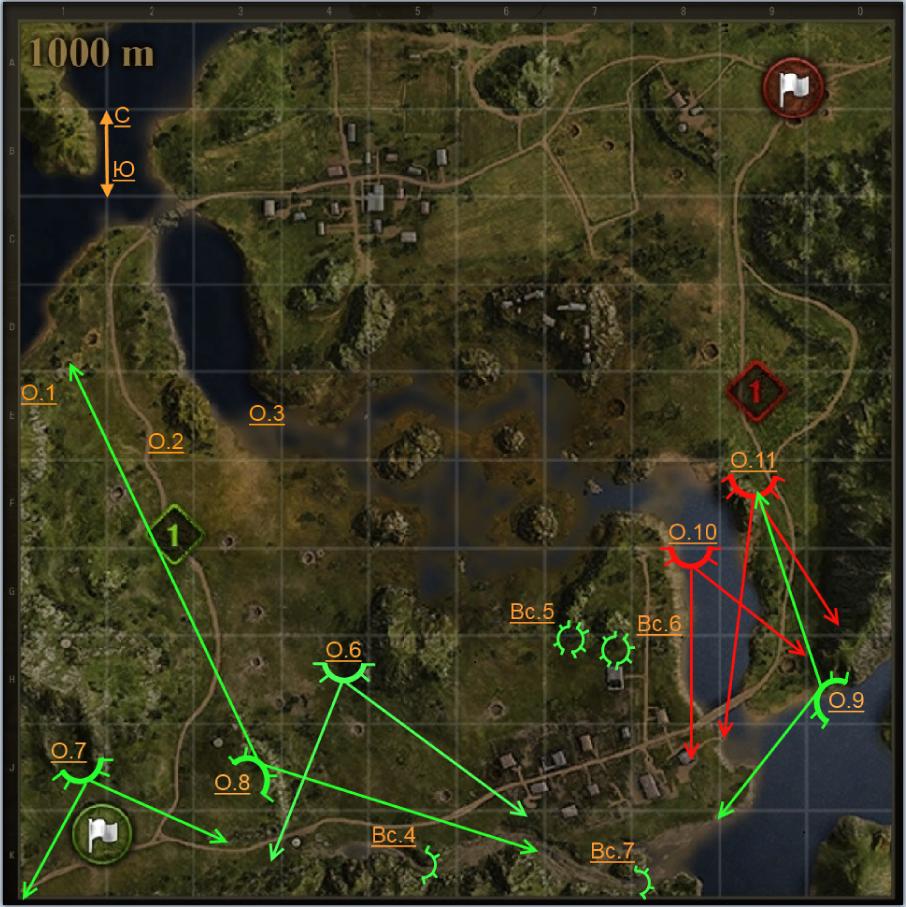 НБ Сектор обстрела с позиции О9