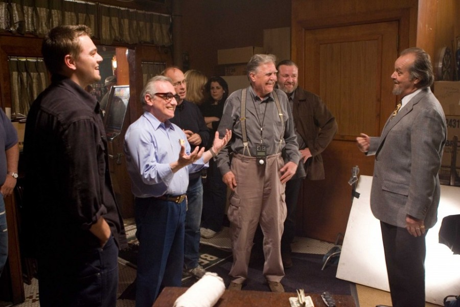 From-left-actor-LEONARDO-DiCAPRIO-director-MARTIN-SCORSESE-director-of-photography-MICHAEL-BALLHAUS-and-actors-RAY-WINSTONE-and-JACK-NICHOLSON-on-the-set-of-Warner-Bros.-Pictures-crime-drama-The-Departed.-Photo-by-Andrew-C