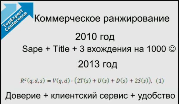 Коммерческое ранжирование в Яндексе