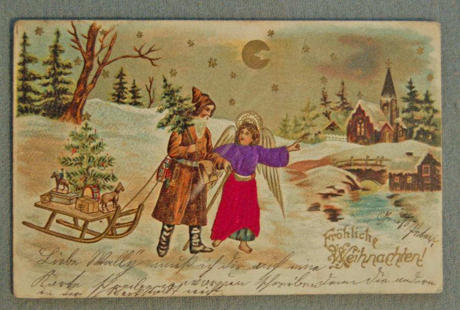 Первые новогодние рождественские открытки