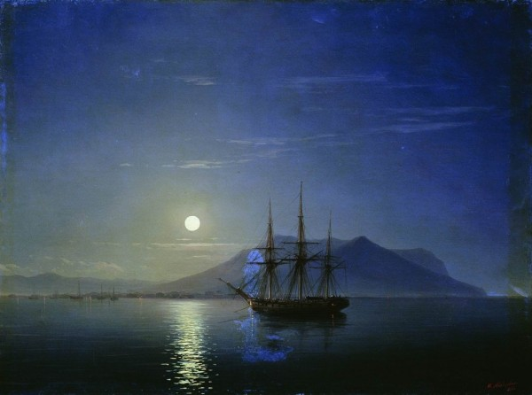 Парусник у берегов Крыма в лунную ночь - Айвазовский
