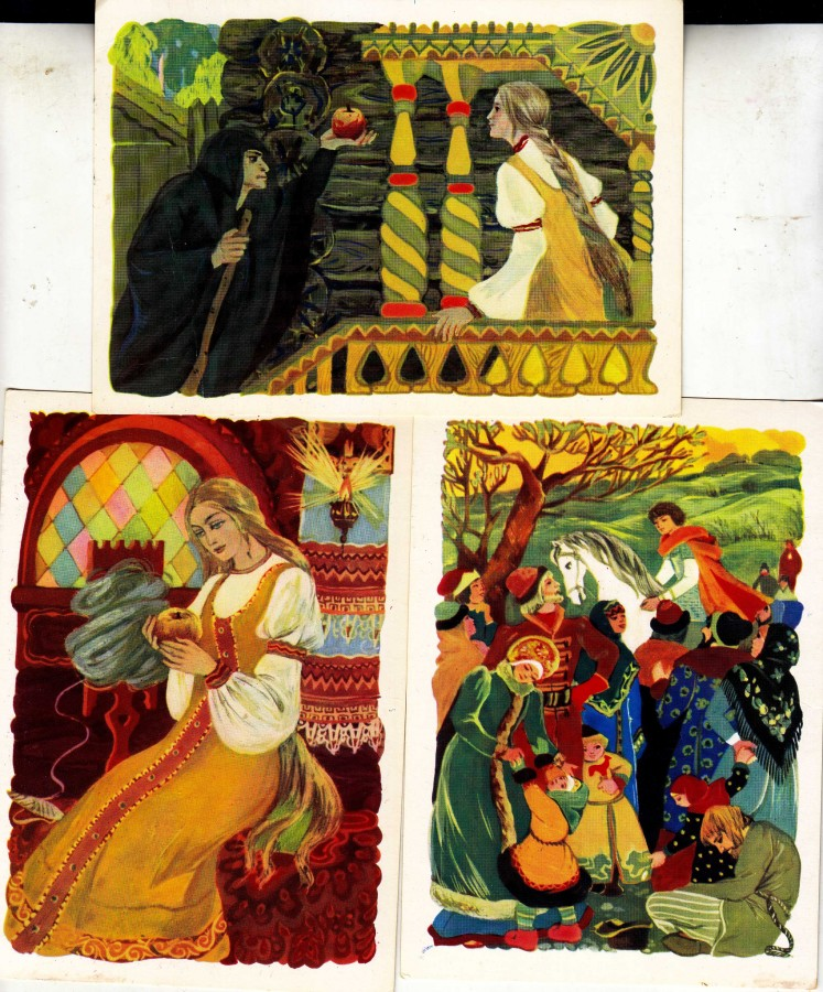 Открытка к сказке о мертвой царевне и семи богатырях