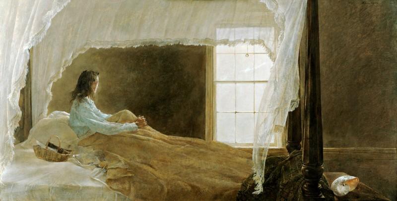 """Художник Эндрю Йаес был очарован образом окна и часто изображал их в своих работах                              Andrew Wyeth's """"Chambered Nautilus"""" (1956),  Credit: Andrew Wyeth, Collection of Mr. and Mrs. Robert Montgomery"""