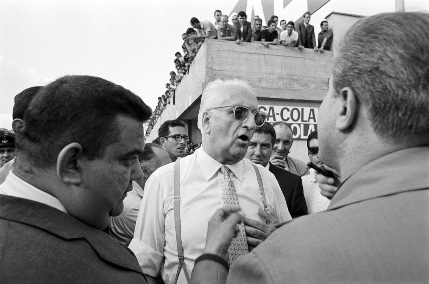 "Il Commendatore"" Enzo Ferrari. In the background M Forghieri (left), Italy, Monza, September 1967"