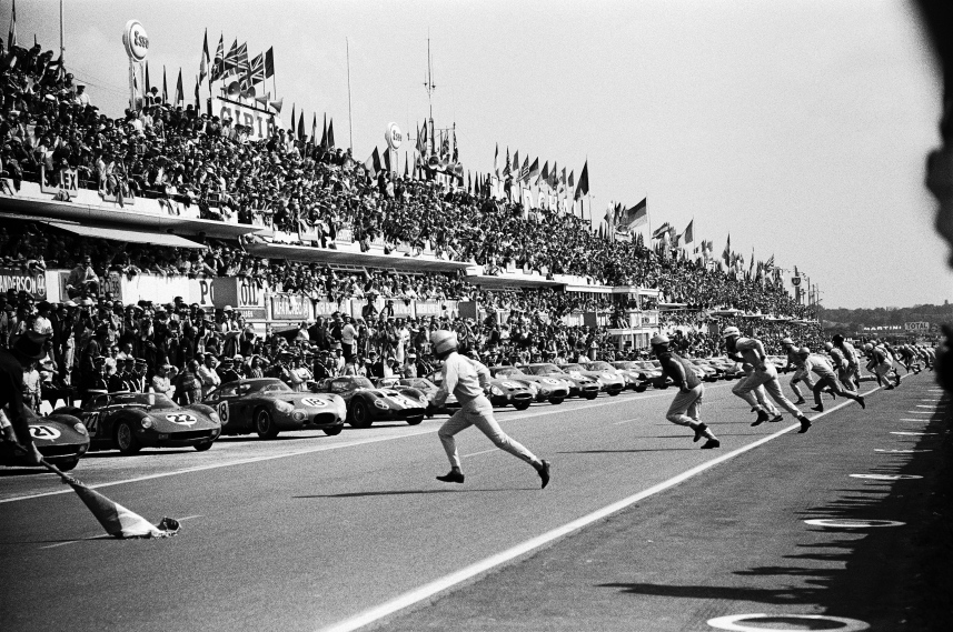 P Rodriguez, L Bandini and M  Parkes are the first 3 starters for the Le Mans 24h, France, Le Mans, 15 June 1963.