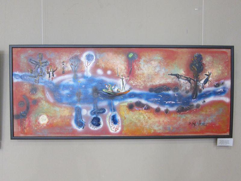 Погоня Дона и Санчо Панса за ужасными, крылатыми мельницами-чудищами на утлой лодочонке по синей реке