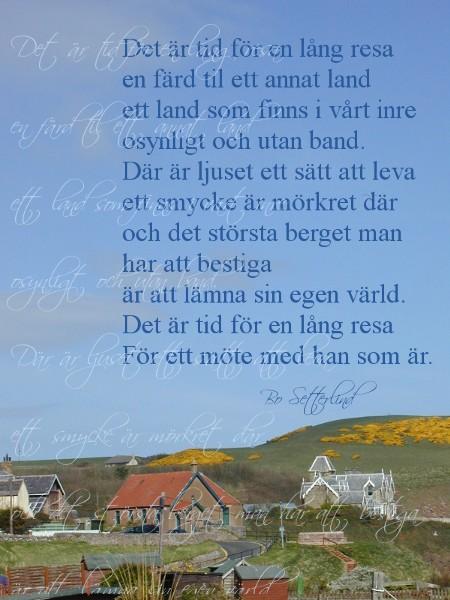 """Bo Setterlinds dikt """"Det er tid för en lång resa"""""""