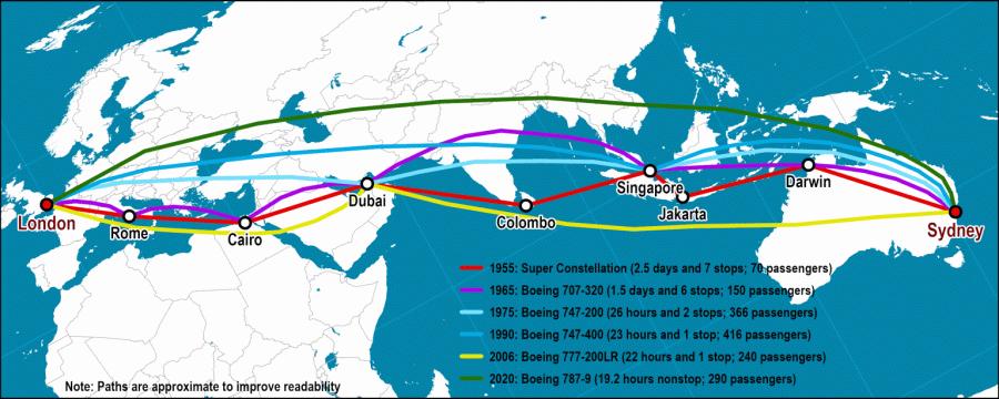 Map-London-Sydney-Air-Routes