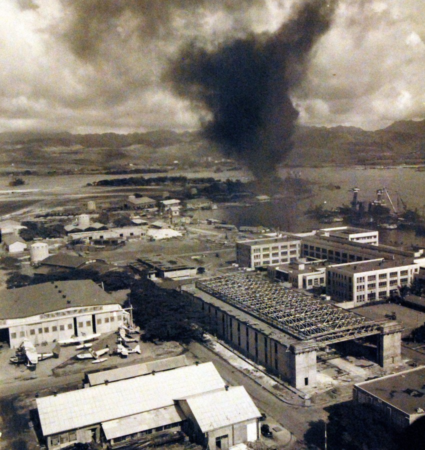 Section of Naval Air Station after enemy air raid.21277225908_c565d818ed_o