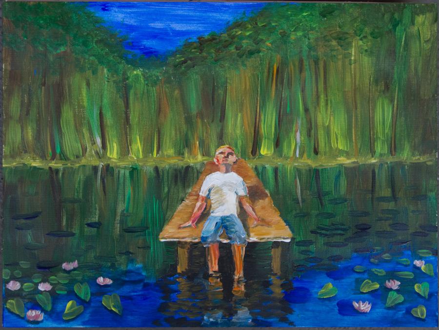 На пруду в летний день