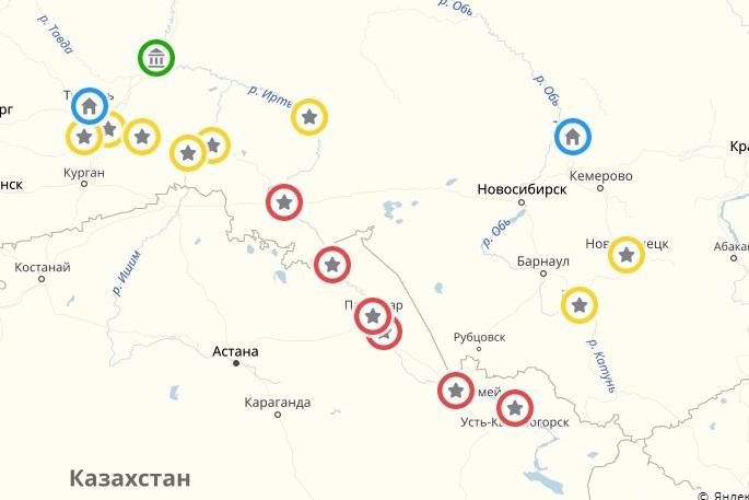 Русские опорные пункты на юге Западной Сибири при Петре I. Красным цветом обозначены крепости, возведённые с момента экспедиции И.Д. Бухгольца.