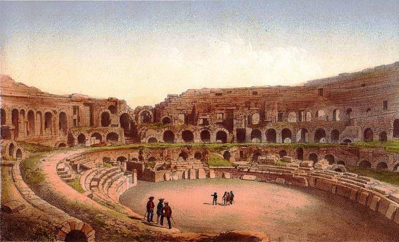 Развалины римского амфитеатра в Ниме (начало XIX века).