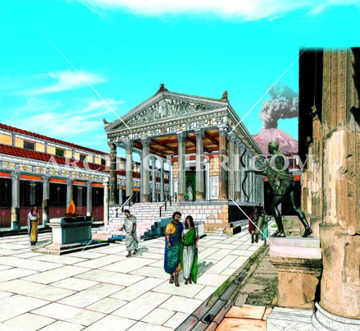 phoca_thumb_l_pompei - pompei - tempio apollo disegno e foto copia copia