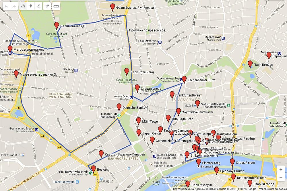 Карта достопримечательностей Франкфурта