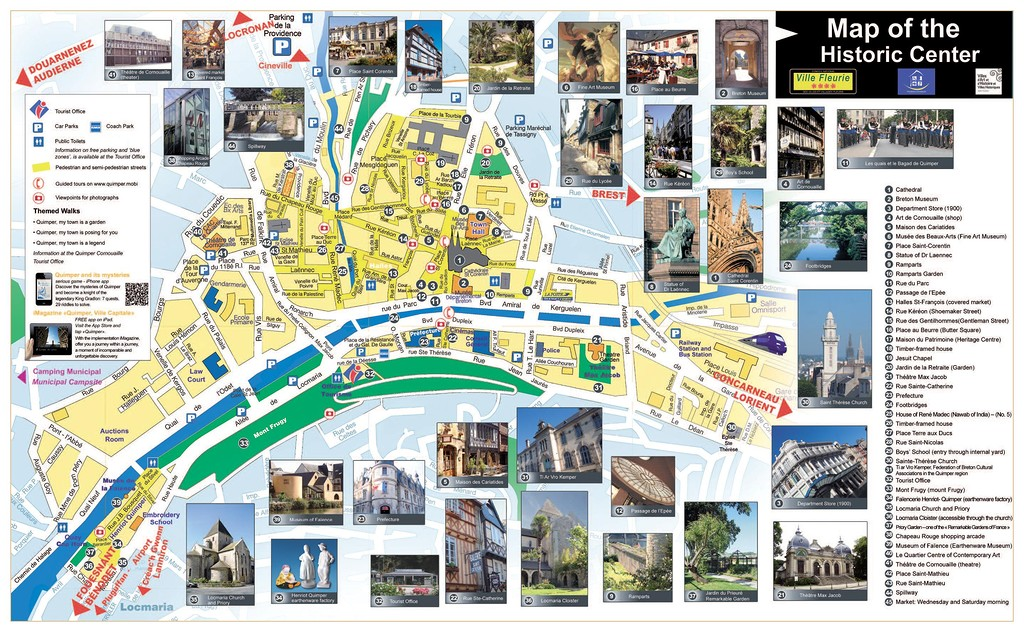 Quimper tourist map. Туристическая карта Кемпера.