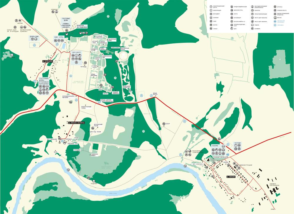 Карта объектов Никола-Ленивца