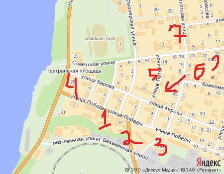 карта с помеченными домами