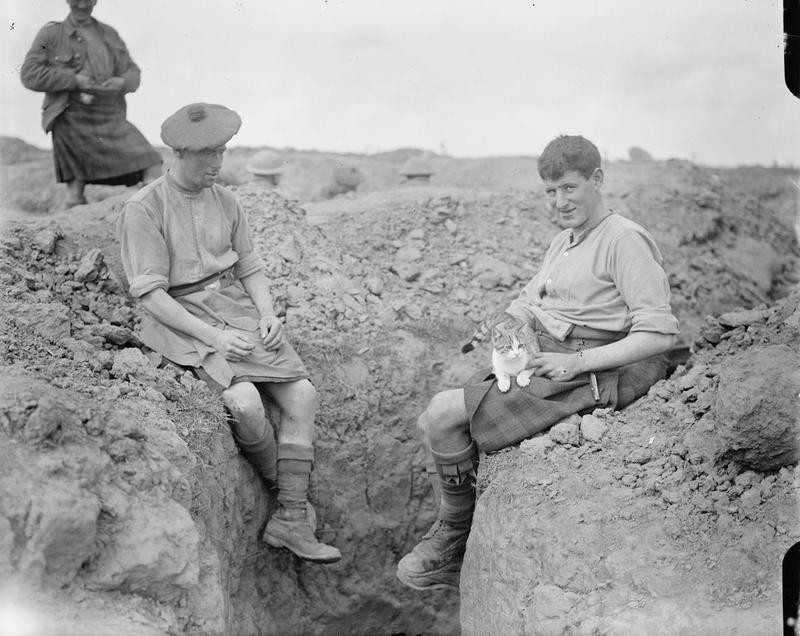 Two men of the 9th Gordons with their trench cat. Martinpuich, 25 August 1916.