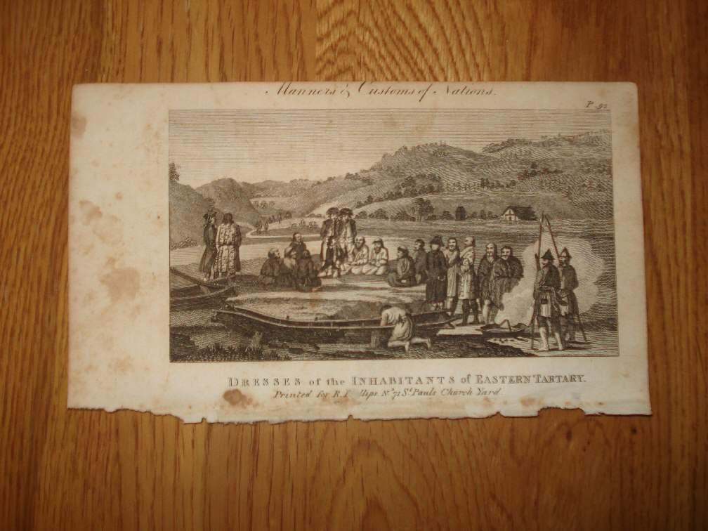 1803 год антикварная печать татарский Россия Азия Китай