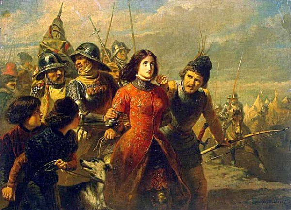 joancapture.jpg Painting by Adolphe-Alexandre Dillens of Joan of Arc Being Led Away after Her Capture on May 23, 1430.