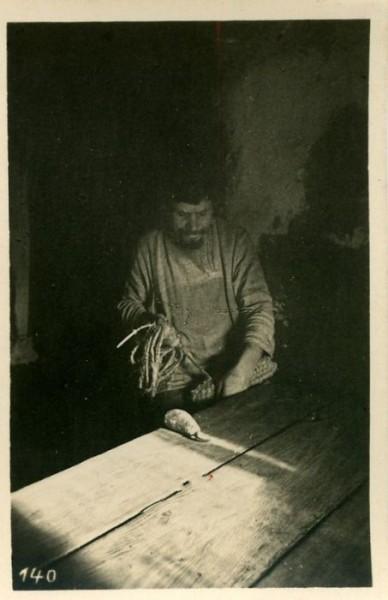 Плетение лаптей, Россия, 40-е годы ХХ в.