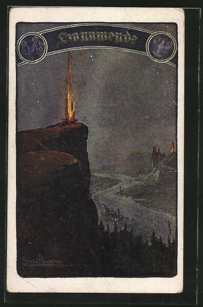 Kuenstler AK Heinz Pinggera-Sonnwende Feuer auf den Felsen entlang des Flusses