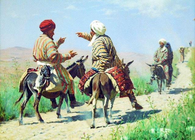 Vereschagin_1873_Mulla_Kerim_i_mulla_Rakhim_po_doroge_na_bazar_ssoryatsya