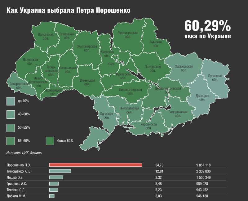 map_Ukraine_2014_05_25_Kommersant_13_elections_2014_president_Poroshenko