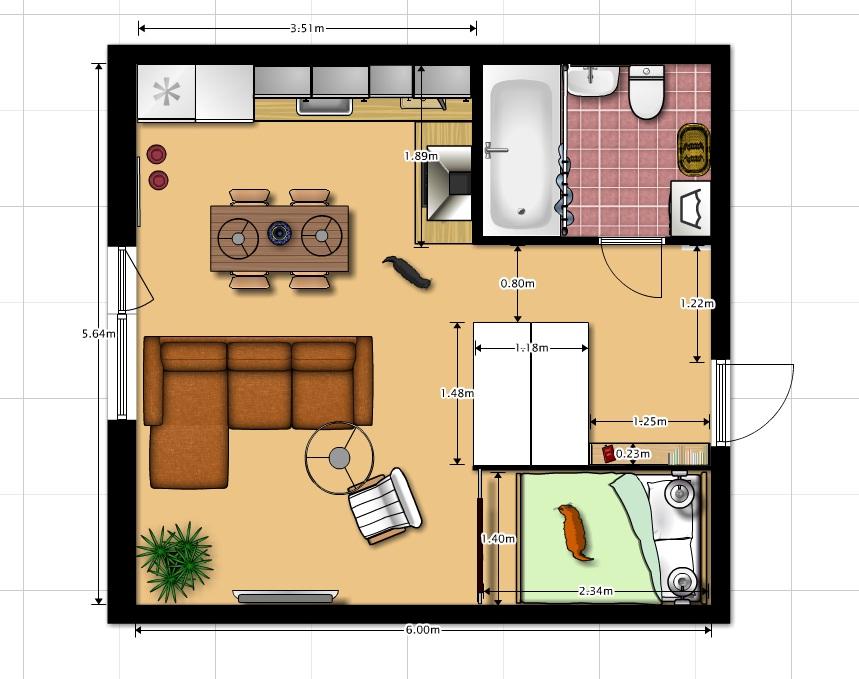 Квартира студия дизайн 33 кв.м