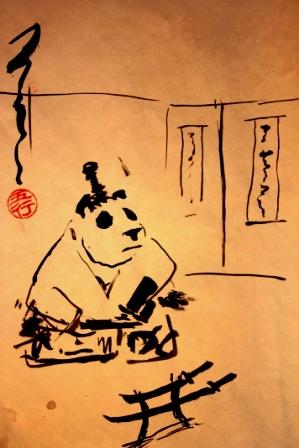 Панда, самурай, кунфу панда, живопись у-син, у-син