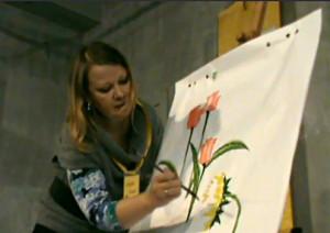 Юля рисует цветы