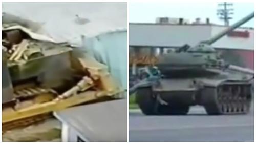 танк и бульдозер