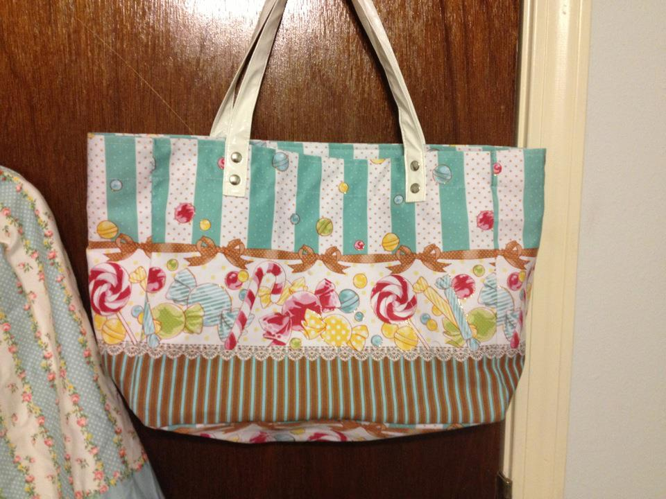 bl mint candy stripe tote