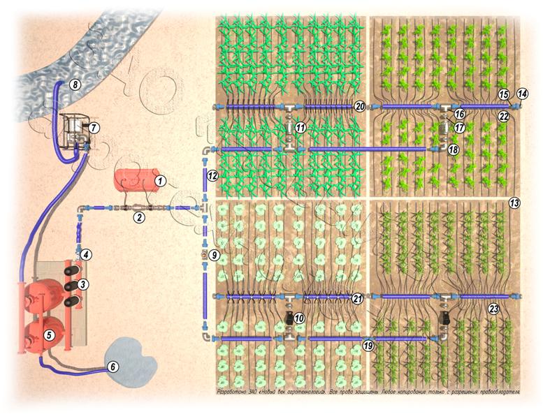 Система капельного орошения (1-бочка для удобрений, 2-узел внесения удобрений, 3-дисковый фильтр, 4-счетчик воды...