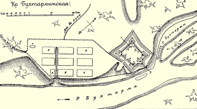 план Бухтарминской крепости и форштадта.