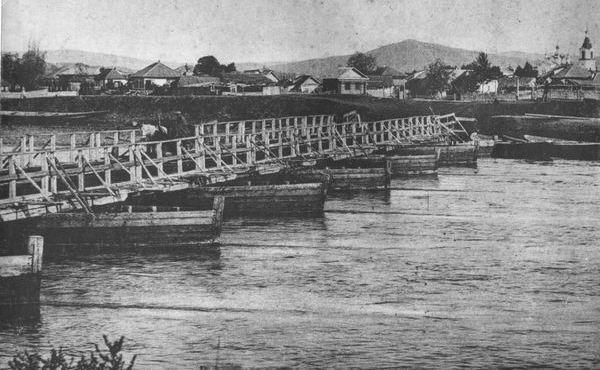 мост на карбасах через Ульбу в Усть-Каменогорске.