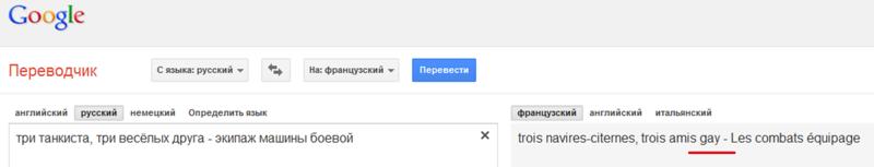 Гугл на французский