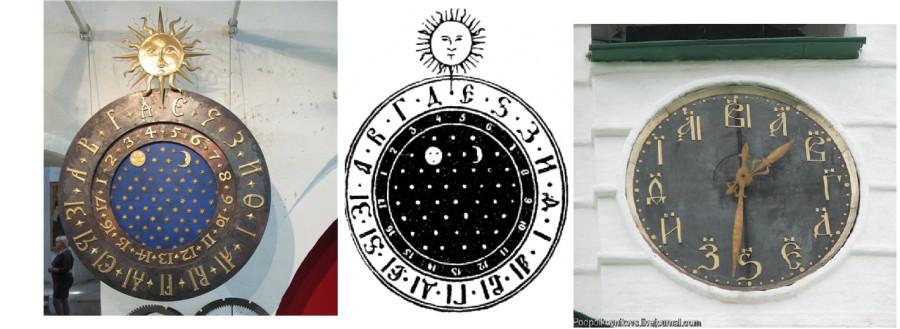 Часы с двигающимся циферблатом в древней руси солнце и лун