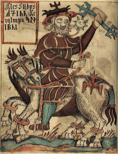 Иллюстрация бога Одина на его восьминогого лошади Sleipnir, от исландского рукописи 18-го века.