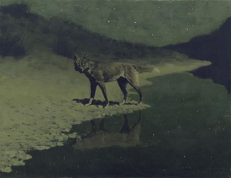 Frederic Remington, Moonlight, Wolf, 1909.