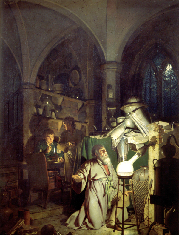 Joseph Wright The Alchemist Discovering Phosphorus, 1771