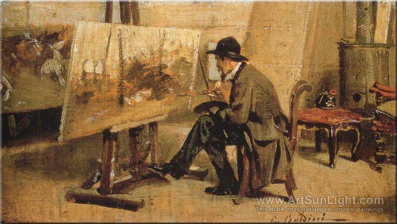 Fattori nello studio (c. 1865-1867) Giovanni Fattori in His Study -