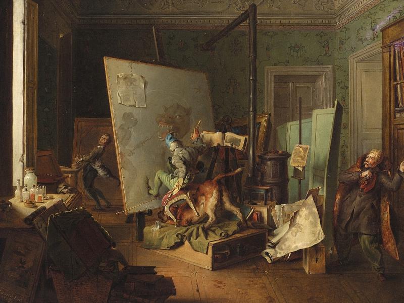 Josef Danhauser (Austrian, 1805-1845) Komische Szene im Atelier. 1829