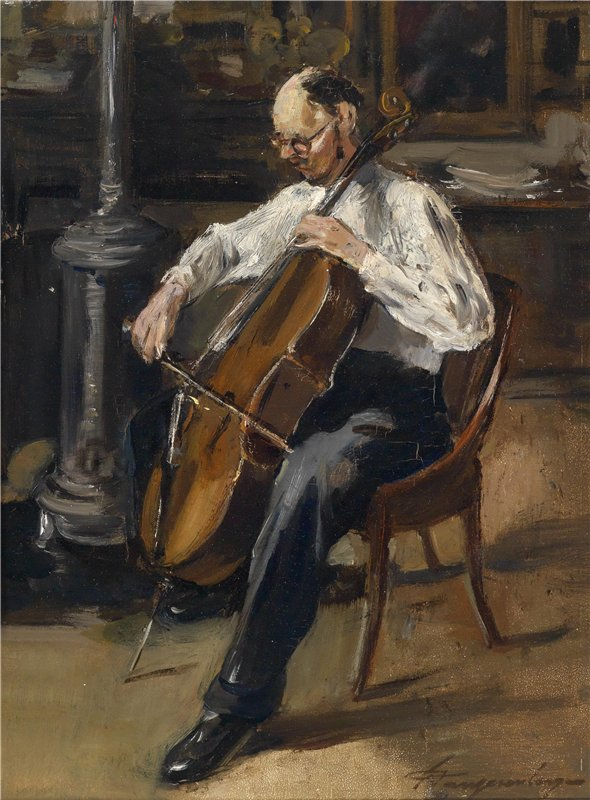 Unknown Belgian Artist The Cello Player. Late 19th Century