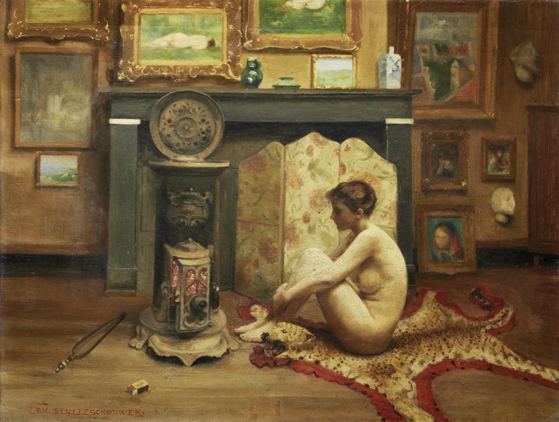 Ernest de Vleeschouwer - Female Nude Before a Fire