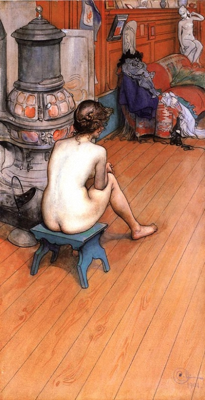 Carl Larsson (Swedish, 1853-1919) Leontine Sitting In The Atelier.