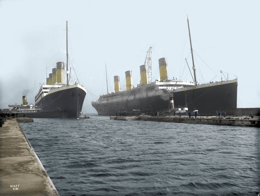 Olympic and Titanic,The two sister ships were together for the last time at the beginning of March 1912