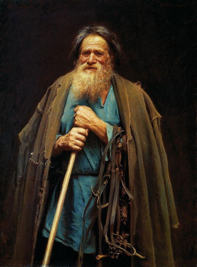 Ivan Kramskoi -  Peasant with a bridle, 1883